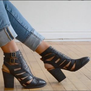 Free Peoples Hayes Leather Black Boots Size 8